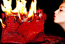Francesca Eastwood has lit a fire of another kind after destroying this $100,000 handbag. Photo / Tyler Shields
