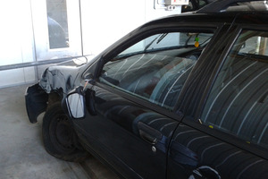 The car Jordan Scott was driving when he was bashed, carjacked and pushed off a bank. Photo / Bay of Plenty Times