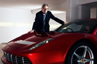 Eric Clapton with the custom-built SP12 EC Ferrari. Photo / Supplied