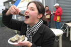 Eveline Jenkin samples the stars of the show at Bluff's world-famous-in-NZ Oyster and Food Festival. Photo / Eveline Jenkin