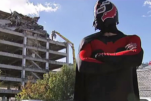 Christchurch superhero Flat Man is spreading his message through the medium of song. Photo / Youtube