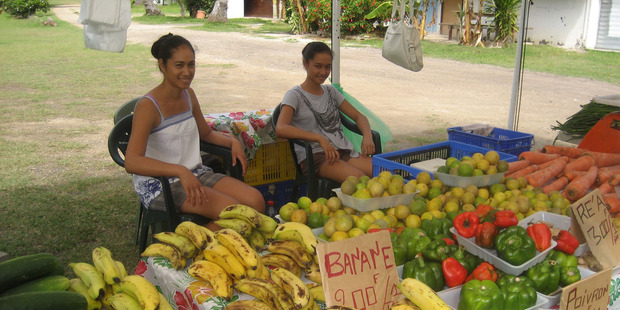 Fresh fruit and vegetables for sale at Papeete's daily market. Photo / Sophie Bond