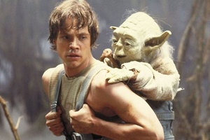 Luke Skywalker and Yoda talk tactics during The Empire Strikes Back. Photo / Supplied