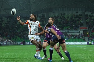 Lote Tuqiri of the Tigers looks to control the ball. Photo / Getty Images