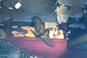 The fire damage to the Pita Sharples puppet at the Backbenchers bar in Wellington. Photo / Katie Bradford-Crozi/Twitter