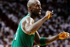 Boston Celtics' Kevin Garnett reacts after scoring during the second half of Game 5 in their NBA basketball Eastern Conference Finals playoff series against the Miami Heat. Photo / AP