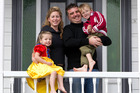 Kara Moeller-Laird and Gervais Laird with Tessa (4) and Morgan (6) are happy in Grey Lynn, where property prices are booming.  Photo / Richard Robinson