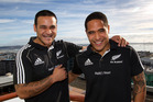 Piri Weepu (left) with newly selected All Black Aaron Smith. Photo / Brett Phibbs