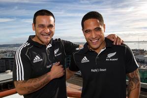 Piri Weepu (left) with newly selected All Black Aaron Smith. Photo / Brett Phibbs