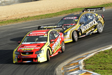 Scott McLaughlin leads the way with Andy Booth close on his tail. Photo / Geoff Ridder