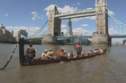 The crew practised on the Thames before today's big outing. Photo / Toi Maori