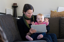 Aucklander Jo Chalkey gets social interaction and advice from other mothers about baby Emma's progress. Photo / Supplied