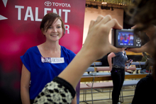 Journalist Amelia Wade auditions for New Zealand's Got Talent auditions at Epsom Girls Grammar. Photo / Natalie Slade