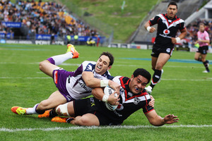 Konrad Hurrell of the Warriors scores against the Melbourne Storm at Mt Smart Stadium. Despite leading at halftime, the team plunged to their seventh defeat from 12 matches. Photo / Getty Images