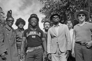 Yaw Boateng (third from left) and his multi-national band Zoh Zoh. Photo / Supplied