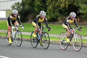 Massey High School cycling team, from left, Sammy Croft, Renee Wooton, Lydia Rippon and Laura Newman Watt hit the road in a time trial. Photo / Supplied
