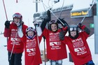From left, Edward O'Brien, Kate O'Brien, Nikki Crowther and Koby Crowther at Mt Hutt yesterday. Photo / Supplied