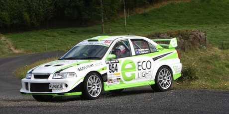 Last year's Targa Rotorua tarmac motor rally winner Leigh Hopper and Simon Kirkpatrick in their Subaru WRX Impreza. Photo / Supplied