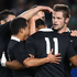 Julian Savea of the All Blacks (C) is congratulated on his try during the International Test Match between the New Zealand All Blacks and Ireland. Photo / Getty Images.