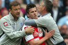 Joey Barton reacts after being sent off in QPR's final game of the Premier League season against Manchester City. Photo / AP