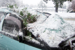 Snow and branches crush a car in Christchurch. Photo / Supplied
