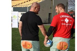 Ben and Owen Franks in their 'bum shorts'. Photo / supplied