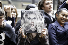 Lady Gaga fans wait for the icon outside her Auckland hotel.  Photo / Richard Robinson