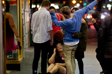 Drunken young people on Queen St have prompted police and city council action. Photo / Dean Purcell 