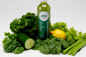 The green juice is packed with seven different fruits and vegetables. Photo / Supplied