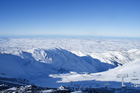 Mt Hutt skifield, with the snow-dusted Canterbury Plains in the distance. Photo / Supplied