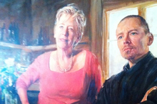Painting of Maggie Beer (left) from her Cook and Chef Food TV series. Photo / Grant Allen