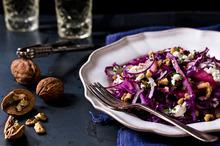 Warm red cabbage, goat cheese and walnut salad. Photo / Babiche Martens