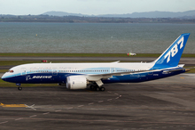 The Boeing 787 Dreamliner demonstrator craft at Auckland International Airport. Photo / Steven McNicholl