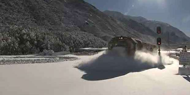 This train ploughed through deep snow at Arthurs Pass. Photo / Supplied
