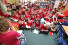 Pupils in a supersized class in Bure Valley Junior school in Norfolk, England. Photo / Neil Sinclair