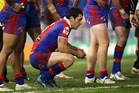Jarrod Mullen of the Knights looks on  during his side's NRL match against the Raiders. Photo / Getty Images
