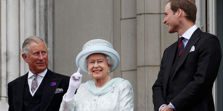 Britain's Prince Charles, Britain's Queen Elizabeth II and Prince William stand on the balcony at Buckingham Palace during the Diamond Jubilee celebrations in central London. Photo / AP