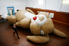 A massive inflatable rabbit which is lying on the floor at the Maori Hall in Newton and is part of an art exhibition by Michael Parekowhai. Photo / Greg Bowker