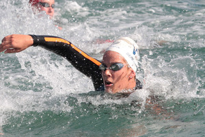 Cara Baker finished just two seconds off an automatic spot for the London Olympics in the marathon open water swim qualifying race in Portugal today. Photo / Getty Images.