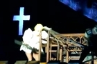Lady Gaga's latest hit has come courtesy of a metal pole held by one of her back-up dancers during a show in New Zealand.