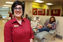 NZ Blood Service nurse Kerry Chamberlain at her happy place at work.  Photo / Doug Sherring
