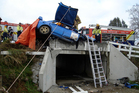The brothers' rally car smashed into the parapet of this stock underpass. Both men survived, but one is in hospital with serious injuries. Photo / Westpac Waikato Air Ambulance