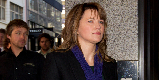 Actress Lucy Lawless arrives at the Auckland District Court. Photo / Brett Phibbs