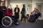 Len Brown and Dr Huhana Hickey discover the difficulty of accessing 280 Queen St by wheelchair. Picture / Greg Bowker.