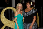 Lorraine Downes (L) and Beatrice Faumuina at the Woman's Weekly 80th Birthday bash, held at The Wharf Friday night. 12 June 2012 New Zealand Herald Photograph by Sarah Ivey