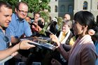 Aung San Suu Kyi meets wellwishers in Switzerland. Picture / AP