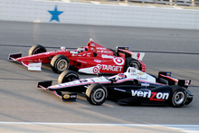 Even in pre-race practices, Scott Dixon, top, Will Power were duking it out for supremacy.  Photo / AP