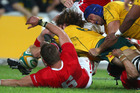 Nathan Sharpe, right, in action for the Wallabies against Wales. Photo / AP.