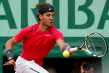 Spain's Rafael Nadal on his way to victory against Serbia's Novak Djokovic. Photo / AP