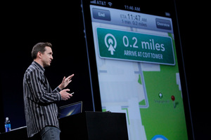 Apple's Scott Forstall demonstrates 'Turn By Turn Directions' on OS6 at the Apple Developers Conference in San Francisco. Photo / AP